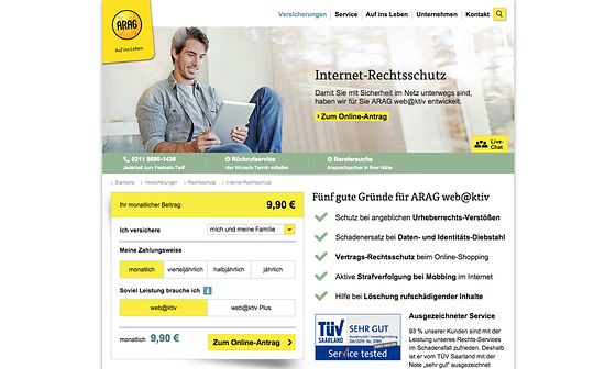 Website Relaunch ARAG Internet Rechtschutz