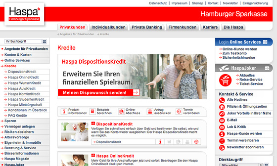 Website-Relaunch Hamburger Sparkasse (Haspa) - Kredite
